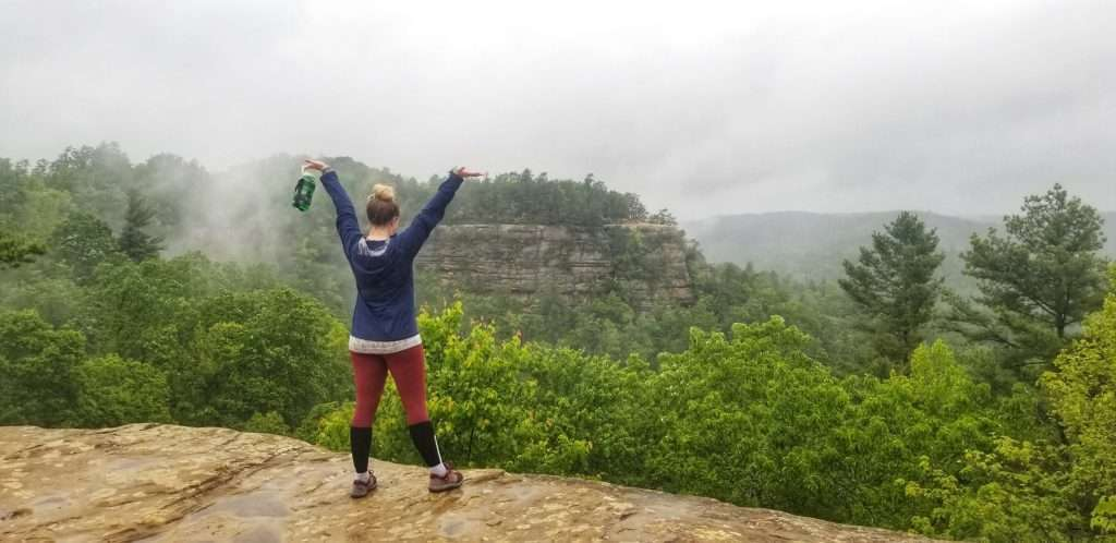 woman in the red river gorge backpacking