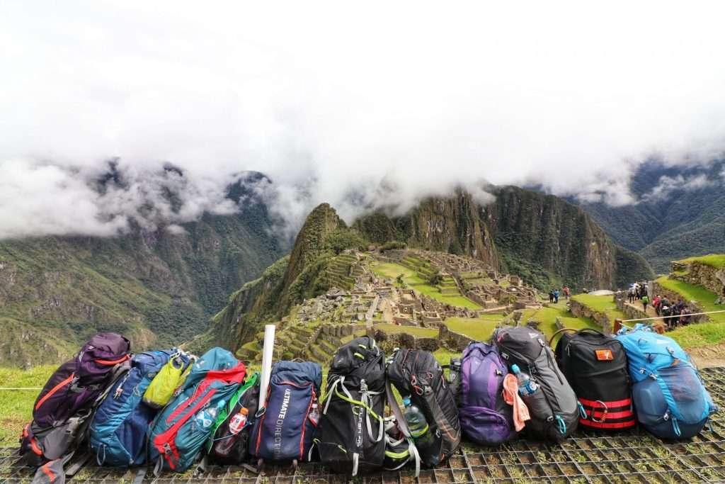 backpacks at machu picchu