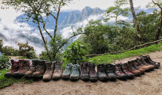 Hiking shoes on the Inca Trail during a women-only Machu Picchu hiking trip.