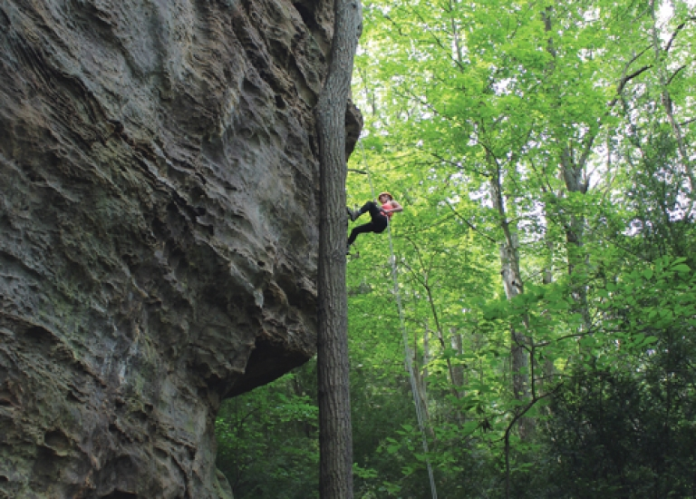 Rappelling in the Hocking Hills