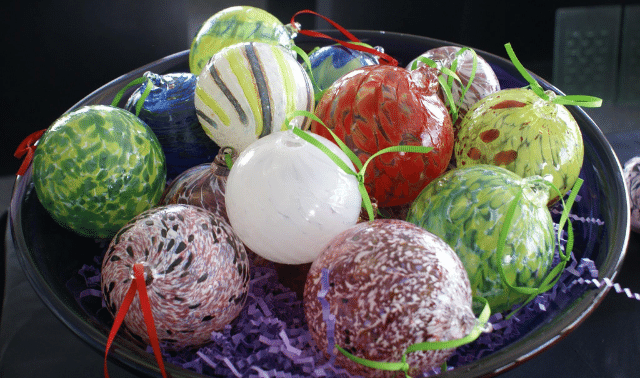 A bowl of glass ornaments made during a glass blowing class in Indianapolis.