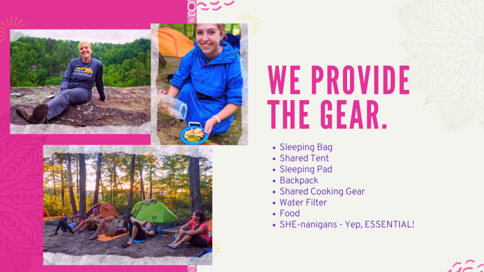 backpacking workshop for women including gear