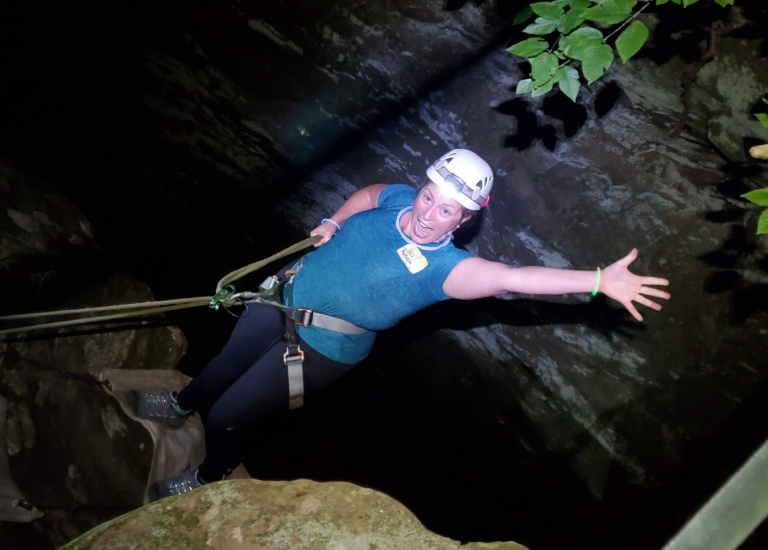 Hocking Hills Rappelling at Night