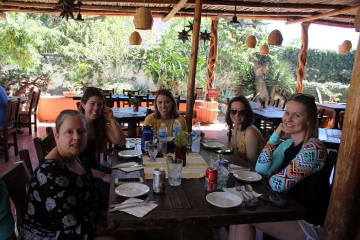 Group of women sitting at a restaurant in Baja Mexico
