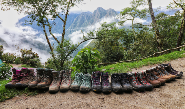A row of women's hiking shoes on the Inca Trail.