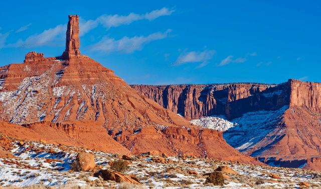 Snow on sandstone rocks in the desert near Moab in winter.